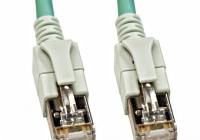 H6GSA00K5A * Patchcablu Cat6a cu LED ecranat RJ45 albastru-aqua 10GB 0,5m