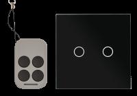 AJ-TSB-02-bk * Intrerupator dublu cu actionare la atingere (touch), cu 2 butoane si telecomanda RF, negru