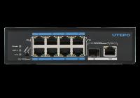 UTP7108E-POE * Switch ethernet industrial PoE+, 8 porturi 10/100Mbps Base-T downlink, 1 port 10/100/1000Mbps Base-T uplink, 1 port 1000Mbps Base-X SFP