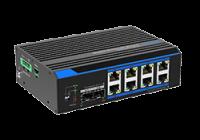 UTP7208GE-POE *  Switch industrial cu 8 porturi ethernet gigabit POE+ si 2 porturi gigabit SFP, alimentare 12~48Vcc, POE Watchdog, Fast Ring, B