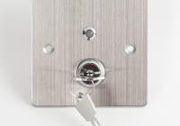 KY-B-SS-2-rdgn * Buton de iesire incastrabil/aplicabil cu carcasa, cu cheie, cu led
